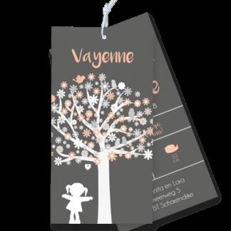 Geboortekaartje meisje silouet met boom