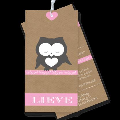Geboortekaartje label karton met uiltje