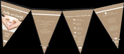 Trouwkaart vlaggetjes lijn kraft karton