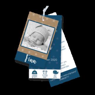 Geboortekaartje label met foto in donkerblauw met sterren