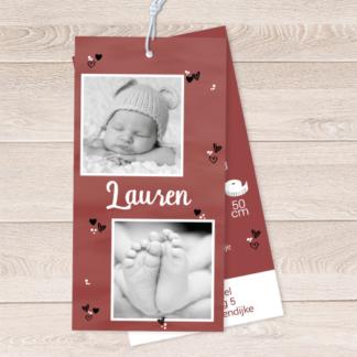 Label geboortekaartje met twee foto's