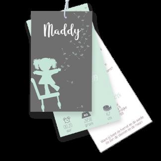 Geboortekaartje label mint en grijs setje met silhouet
