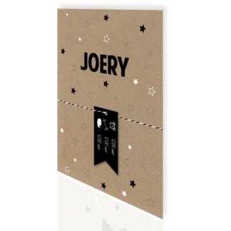 Geboortekaartje met los label kraft en zwart Joery