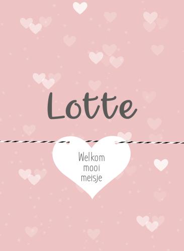 Geboortekaart met losse labeltjes in hartjes vorm in roze en wit