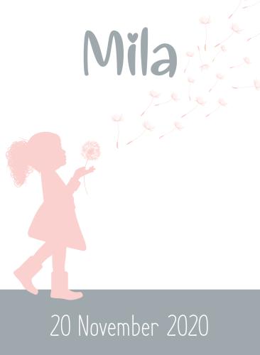 Geboortekaartje meisje met pluizenbol in zacht grijs met roze