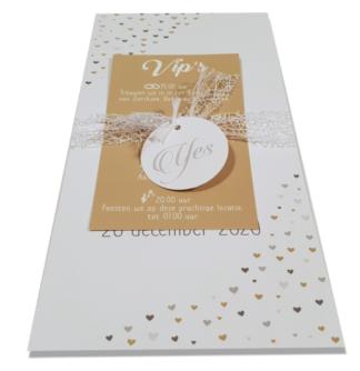 Trouwkaart met los label met tijdlijn goudkleur en zilverkleur