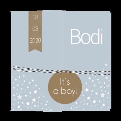 Drieluikkaartje met los labeltje jongen Bodi