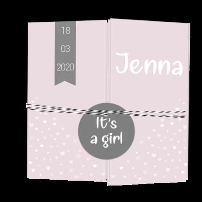 Drieluikkaartje met los labeltje roze en grijs Jenna