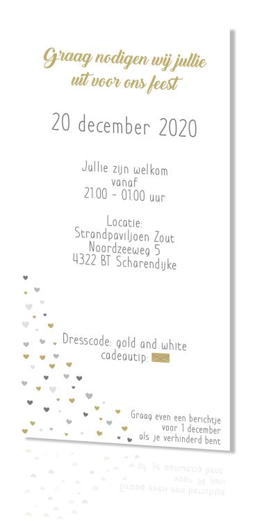 Staande trouwkaart zilver wit en goud