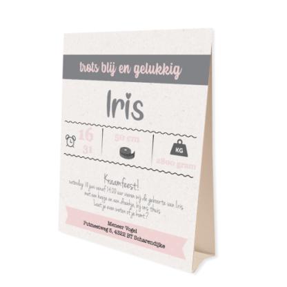 Tentkaartje geboortekaartje voor een meisje in zacht roze en grijs
