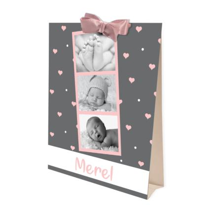 Geboortekaartje tentkaartje met foto donkergrijs en roze