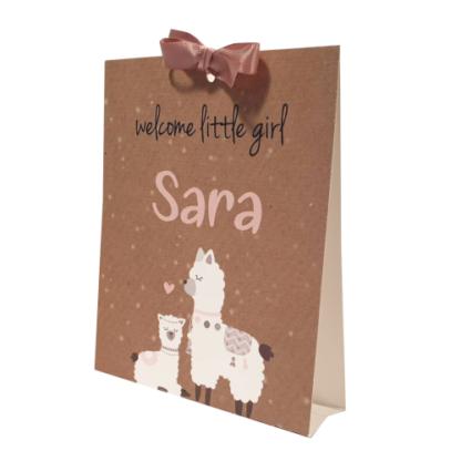 Tentkaartje geboortekaartje voor een meisje met alpaca in roze en karton