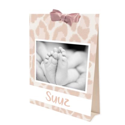 Geboortekaartje tentkaartje met foto in oud roze en tijgerpint