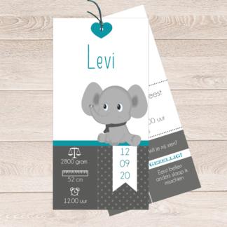 Geboortekaartje labeltjes met olifantje