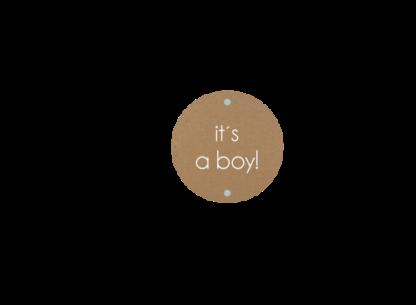 Enkel geboortekaartje voor een jongen met los labeltje