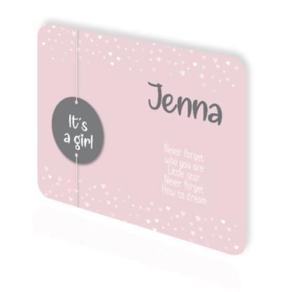 Enkele geboortekaart met touwtje en label in roze wit en grijs