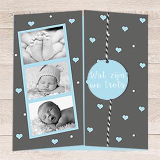Drieluik geboortekaartje met los label