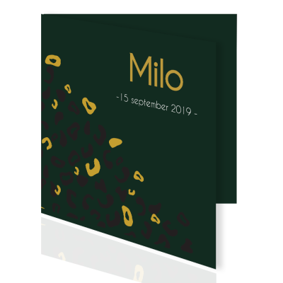 Milo dubbele kaart in donkergroen met luipaard print in zwart en oker.