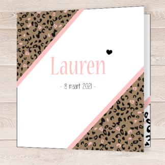 Geboortekaartje met kraft roze luipaard print