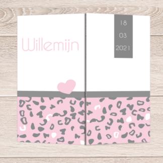 Drieluikkaartje met roze grijs panterprintje