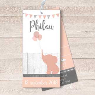 Geboortekaartje label met olifantje en balonnen