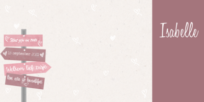 Geboortekaartje drieluik met roze wegwijzer