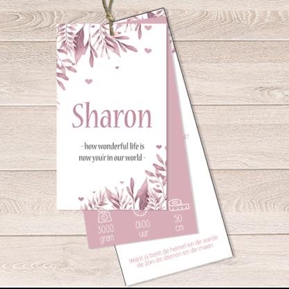 Geboortekaartje labelsetje blaadjes bohemian oud roze