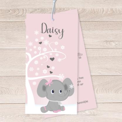 Geboortekaartje labels met olifantje