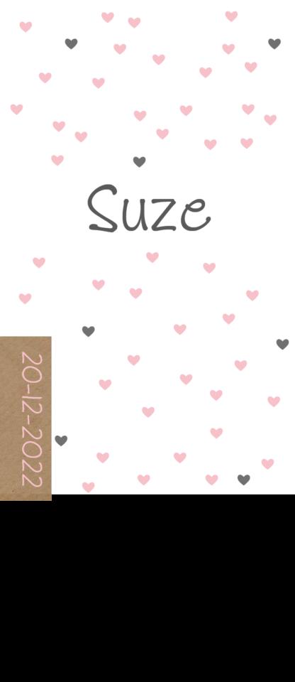 Geboortekaartje met roze hartjes