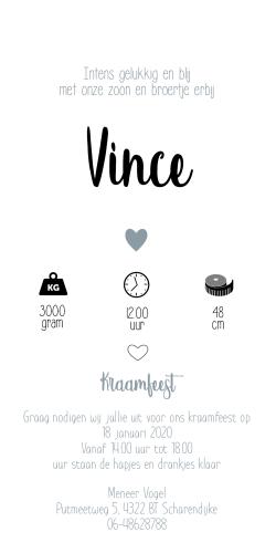 Vince staand geboortekaartje blauw grijs
