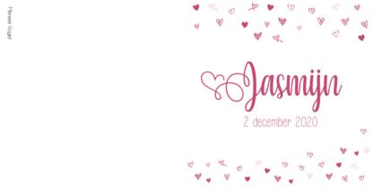 Geboortekaartje meisje framboos hartjes