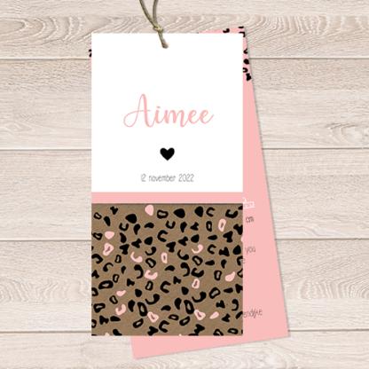 Geboortekaartje luipaard printje Aimee
