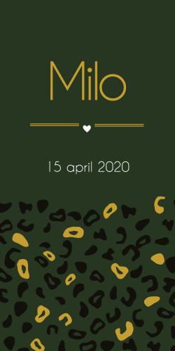 Geboortekaartje label met luipaardprint donker groen okergeel Milo