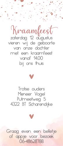 Geboortekaartje label met waterverf en hartjes