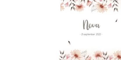 Dubbel geboortekaartje met bloemen en waterverf