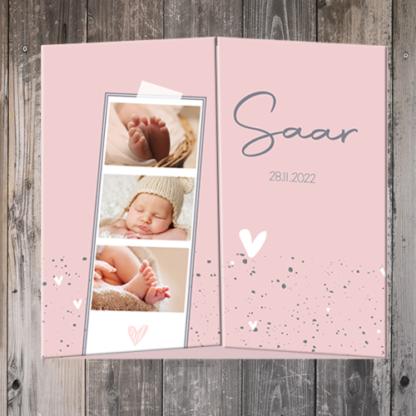 Drieluik geboortekaartje met foto Saar