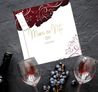 Trouwkaartje wijnrode vlekken en goud