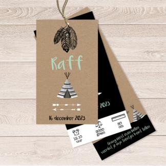 Stoer label geboortekaartje met tipi