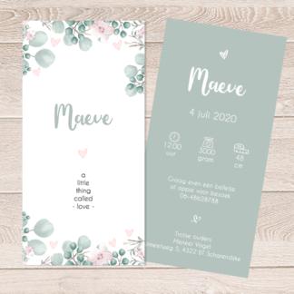 Geboortekaartje met bloemen en aquarel