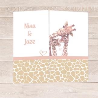 Drieluik geboortekaartje tweeling meisjes met giraf