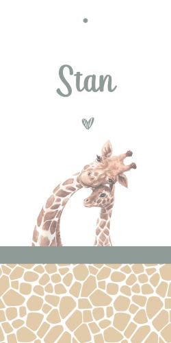 Labelkaartje met lieve giraffe
