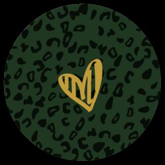 Sluitzegel oker op groene panterprint