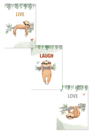 Kinderkamerposter Set Live Laugh Love