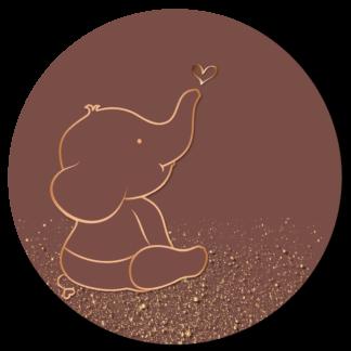 Wandcirkel/Wandsticker met olifantje en gouden spikkels