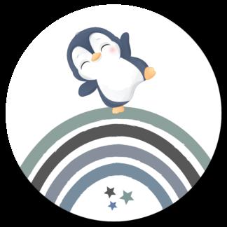 Wandcirkel/Wandsticker met pinguin en regenboog